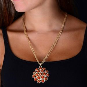 Goldtone & Coral Crystal Cleopatra Necklace